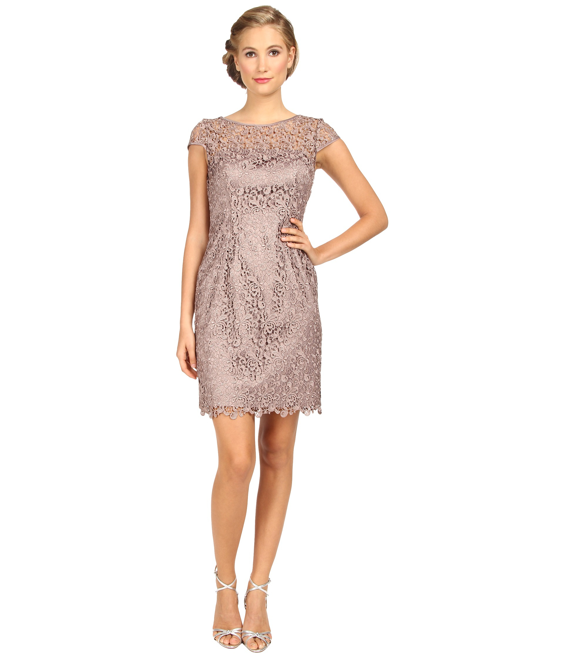 Lyst - Adrianna Papell Cap Sleeve Lace Sheath in Pink