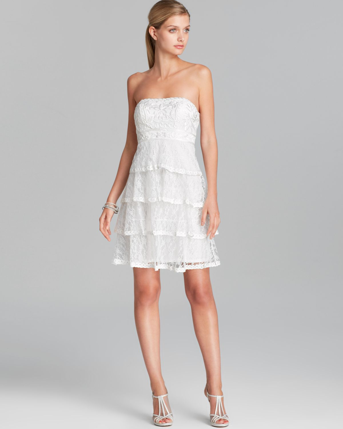 Sue wong Dress - Tiered Strapless Lace in White | Lyst