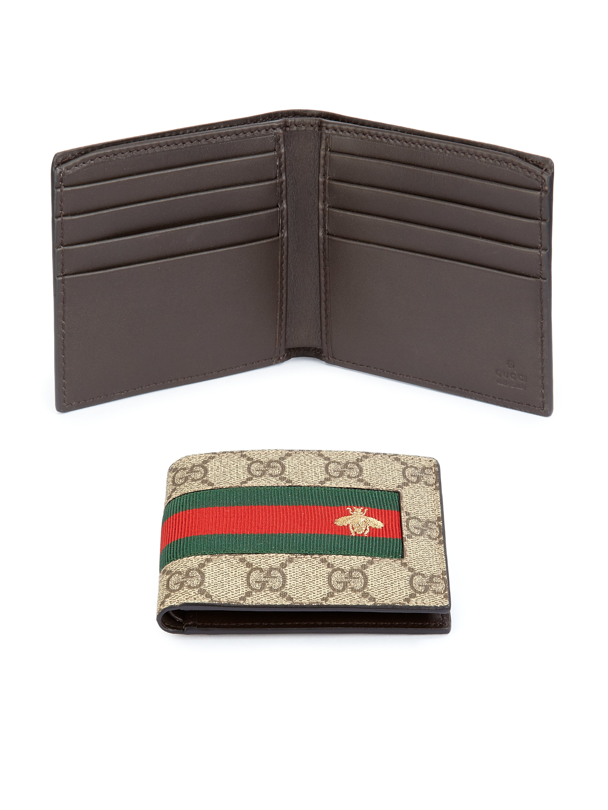 Gucci Gg Supreme Canvas Bi Fold Wallet In Brown For Men Lyst