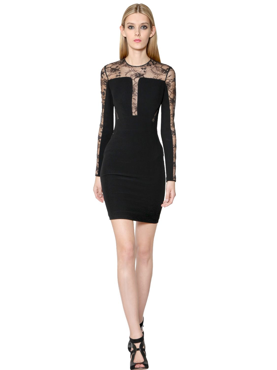 Lyst - Elie Saab Viscose Crepe Cady And Lace Dress in Black