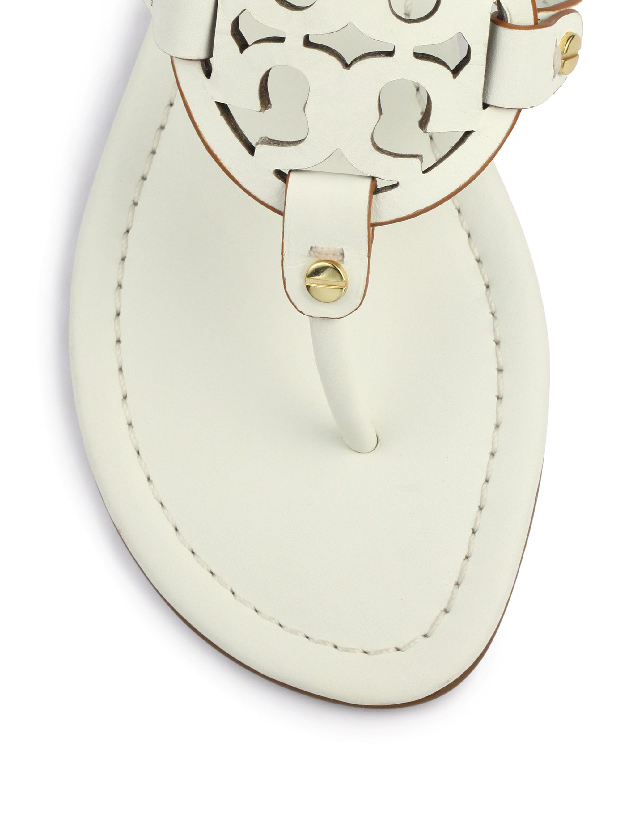 3223aa7eb5b08 Lyst - Tory Burch Miller Leather Logo Thong Sandals in White