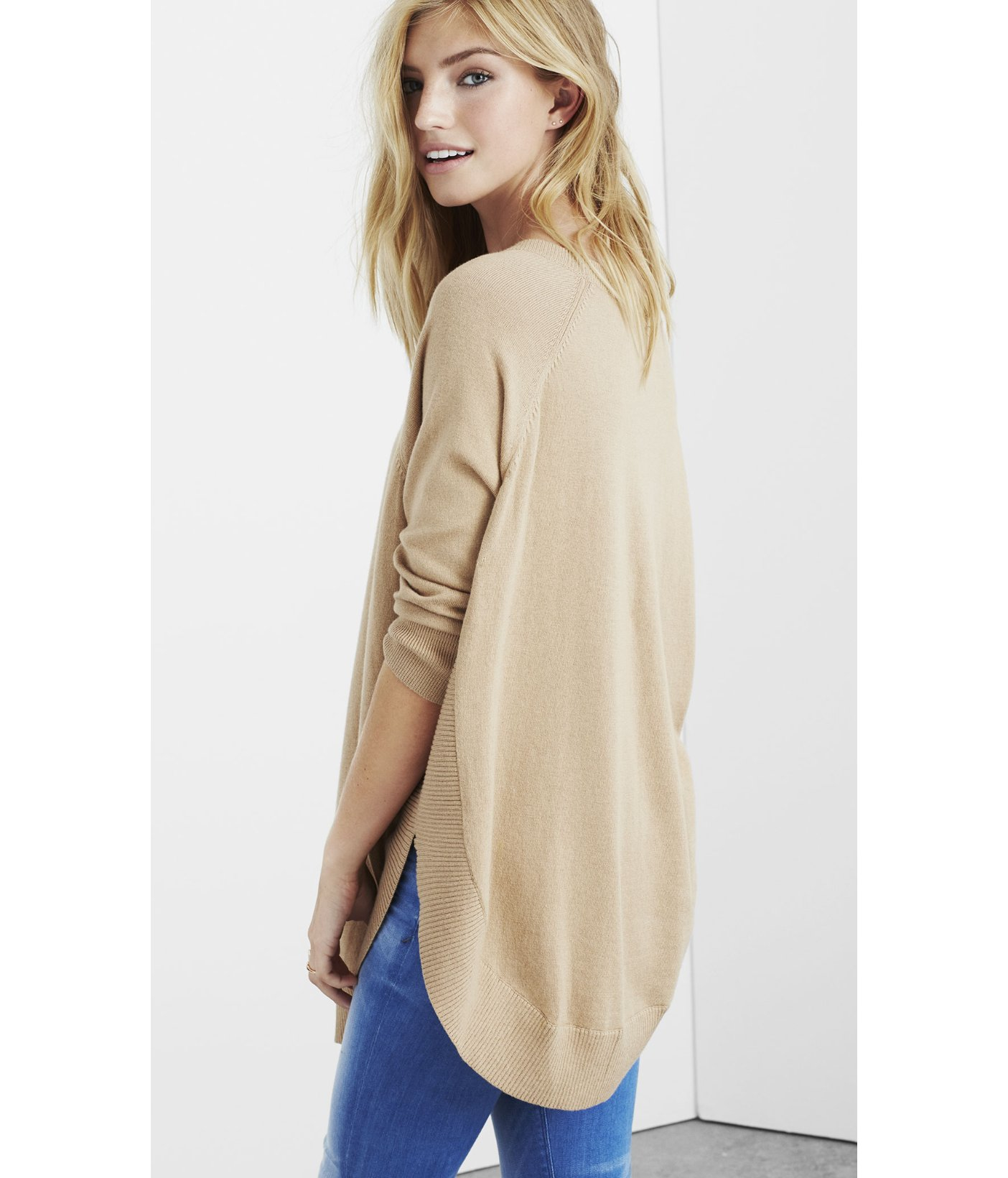 Express Extreme Circle Hem Tunic Sweater in Natural | Lyst