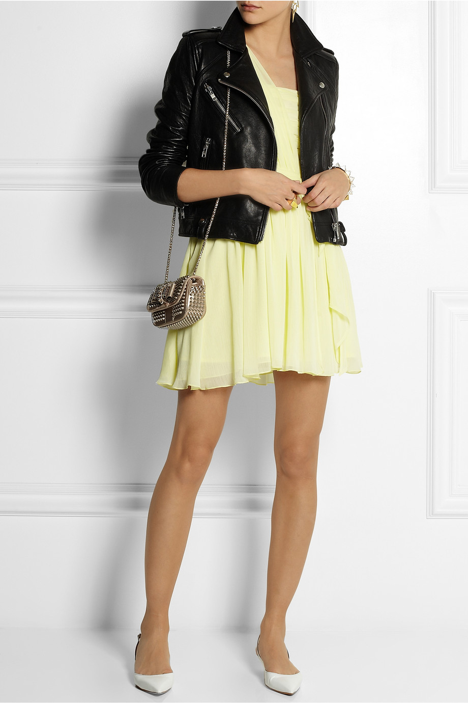 Lyst Topshop One Shoulder Chiffon Mini Dress In Yellow