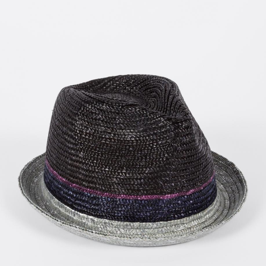 145c6955196 Lyst Paul Smith Straw Trilby Hat In Black For Men
