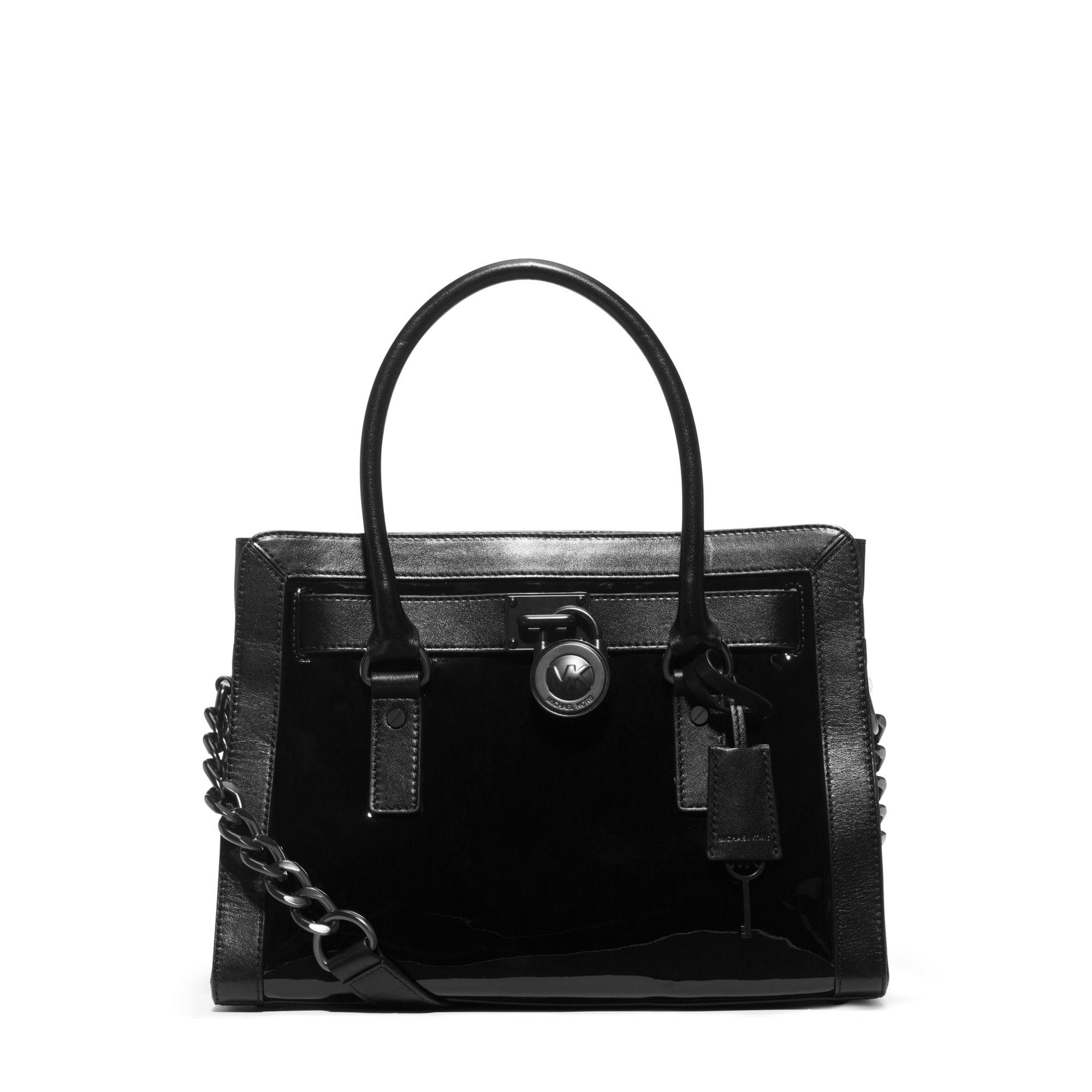 Michael kors Hamilton Patent-leather Satchel in Black | Lyst