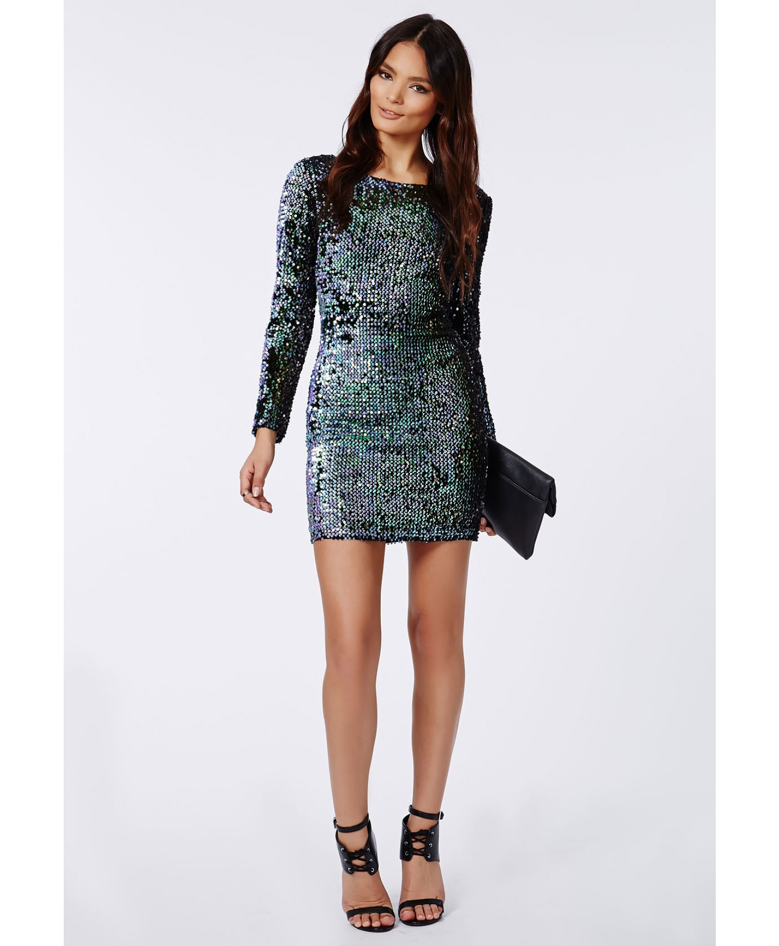 Lyst - Missguided Ivy Mermaid Sequin Long Sleeve Mini Dress Green in ... 4a625c489