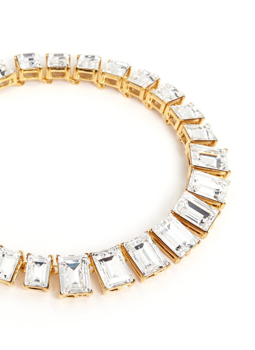 Lyst Kenneth Jay Lane Baguette Cut Crystal Necklace In
