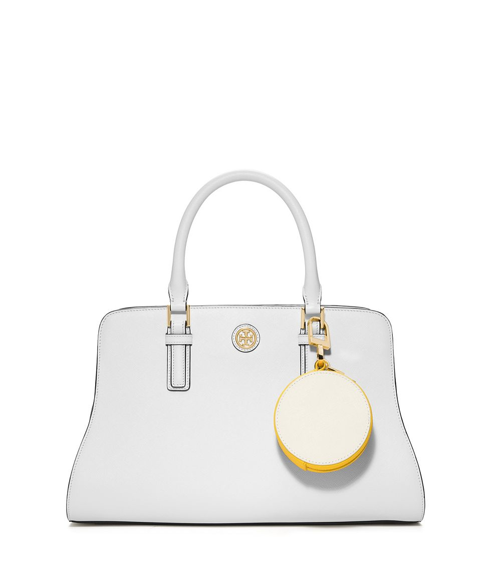 bd738299e7b Tory Burch York Color-Block Circle Pouch in Natural - Lyst