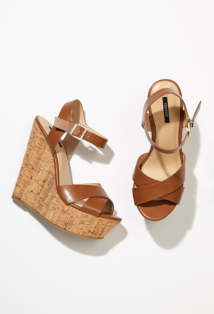 Forever 21 Strappy Cork Sole Platform Wedges In Brown Lyst