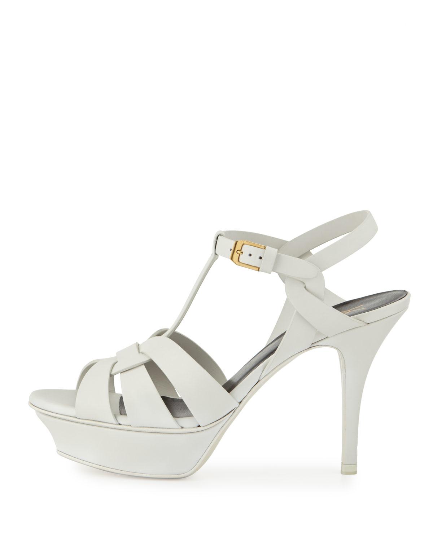 9e98802c2e9 Saint Laurent Tribute Leather Mid-heel Sandal in White - Lyst