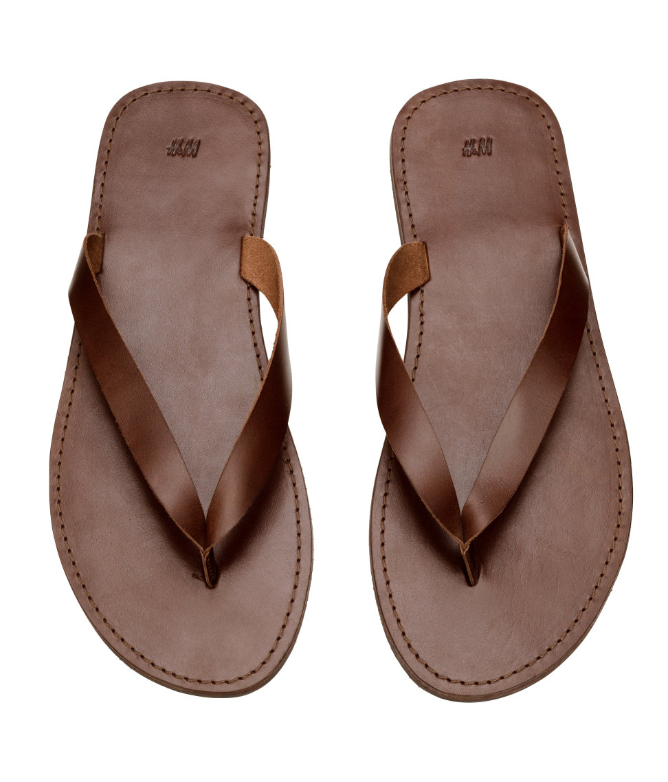 00d793d99bb4 Lyst - H M Leather Flip-Flops in Brown for Men