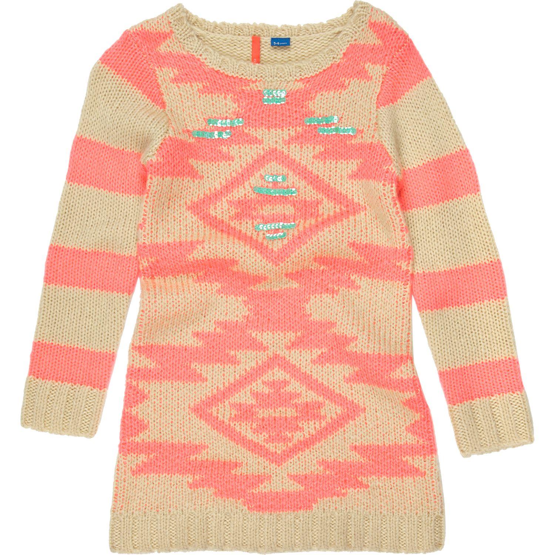 fe8ba776c43 River Island Girls Pink Neon Aztec Sweater Dress in Pink - Lyst