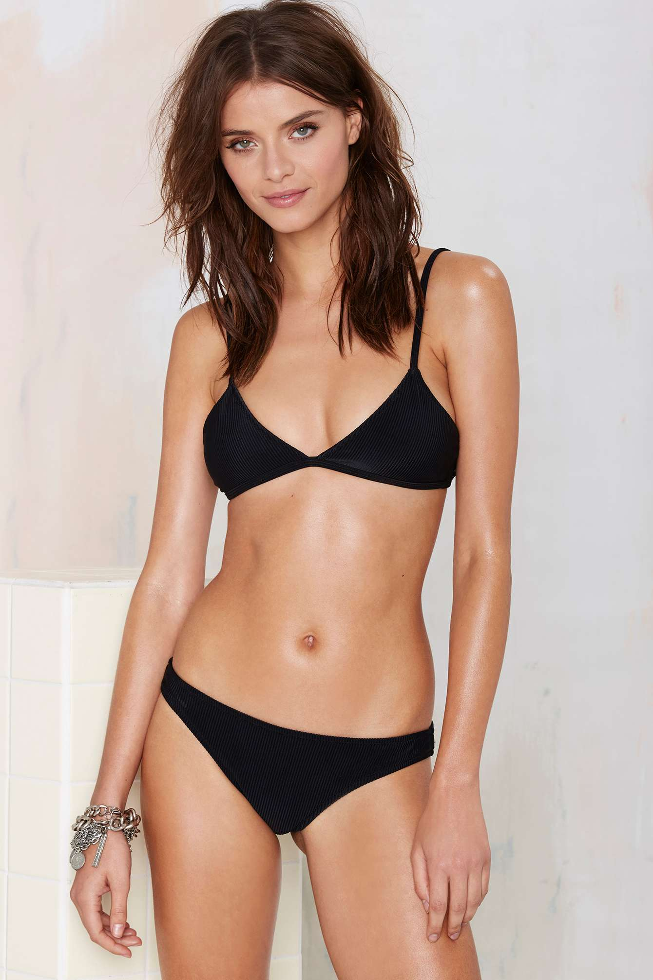 2fb276e476 Lyst - Nasty Gal Alina Mix   Match Ribbed Bikini Top - Black in Black