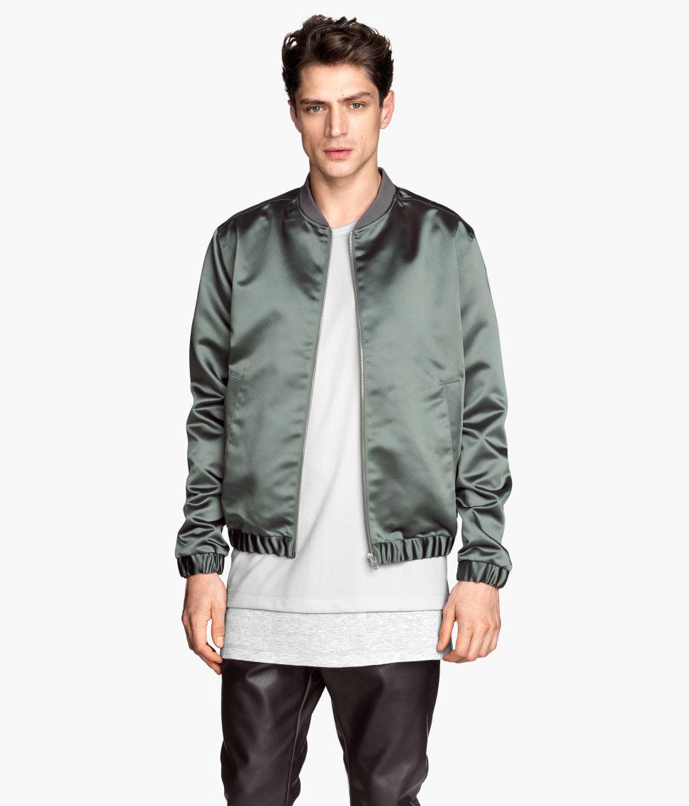 Hu0026m Bomber Jacket In Gray For Men | Lyst