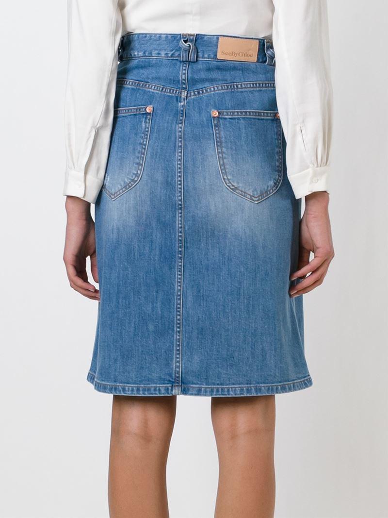 see by chlo 233 midi denim skirt in blue lyst