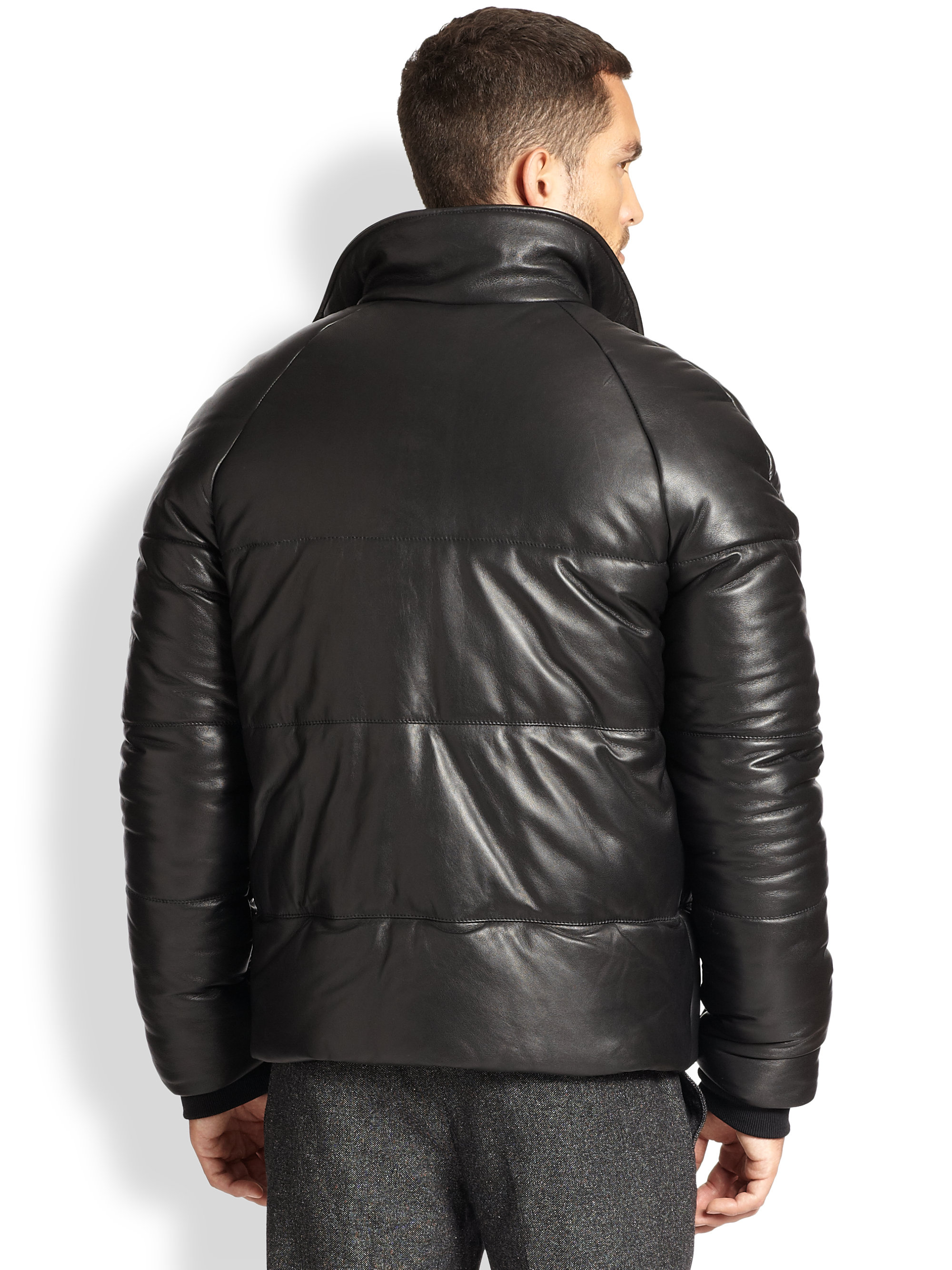Ami Leather Down Jacket in Black for Men | Lyst