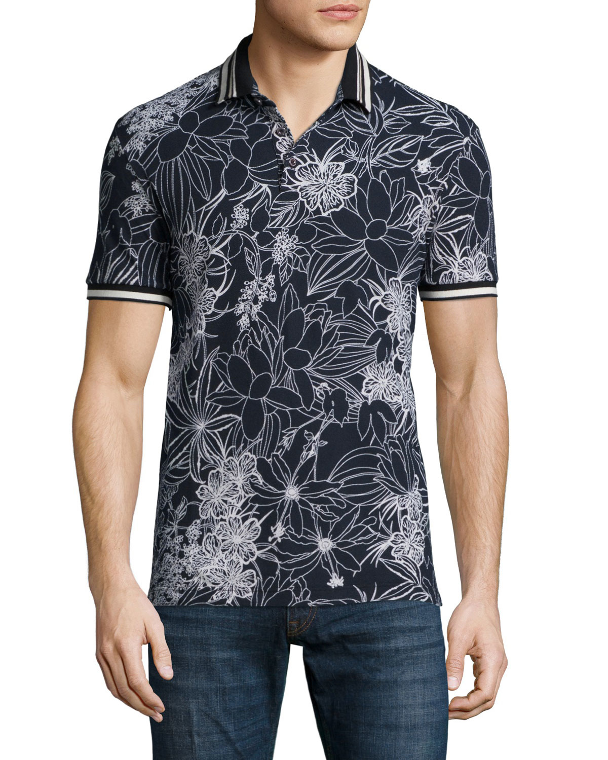 Lyst etro floral print short sleeve pique polo shirt in for Printed short sleeve shirts