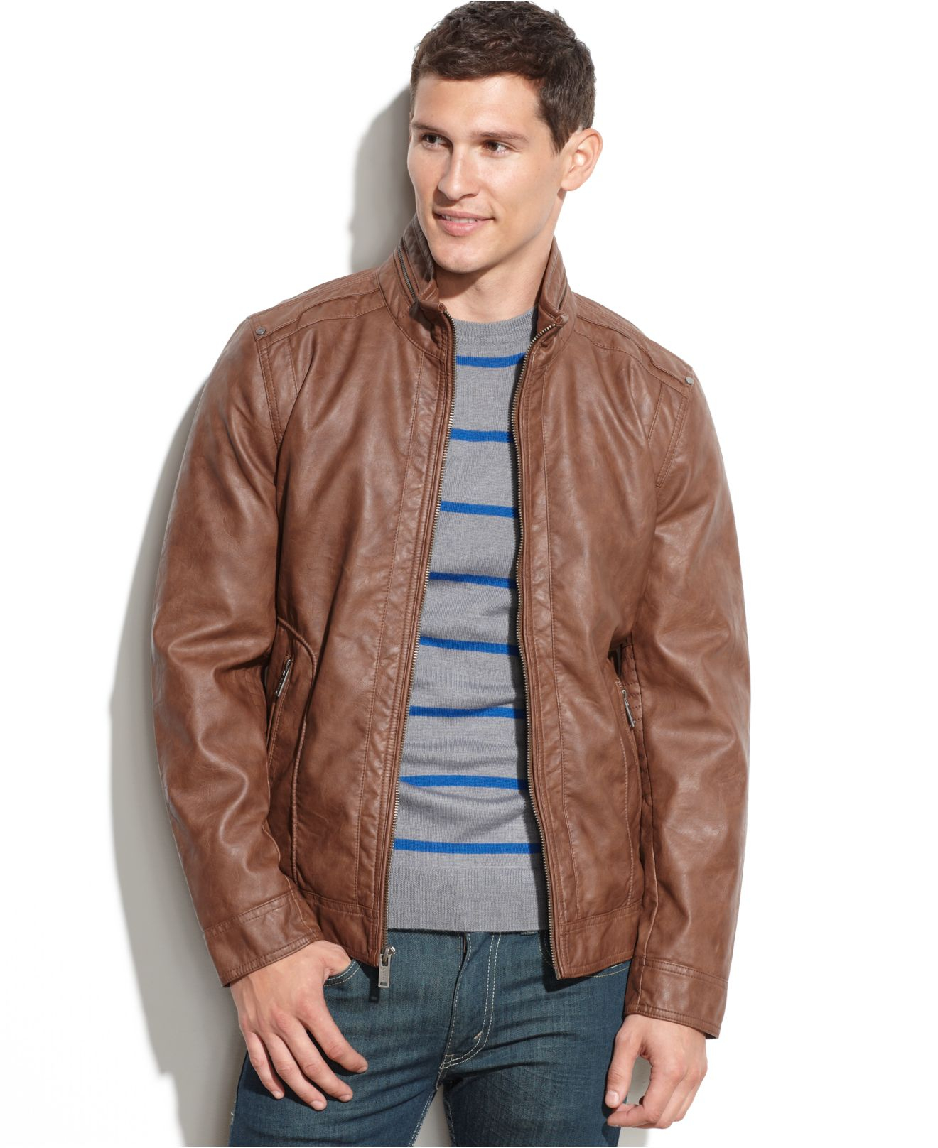 Lyst Guess Lightweight Faux Leather Moto Jacket In Brown For Men