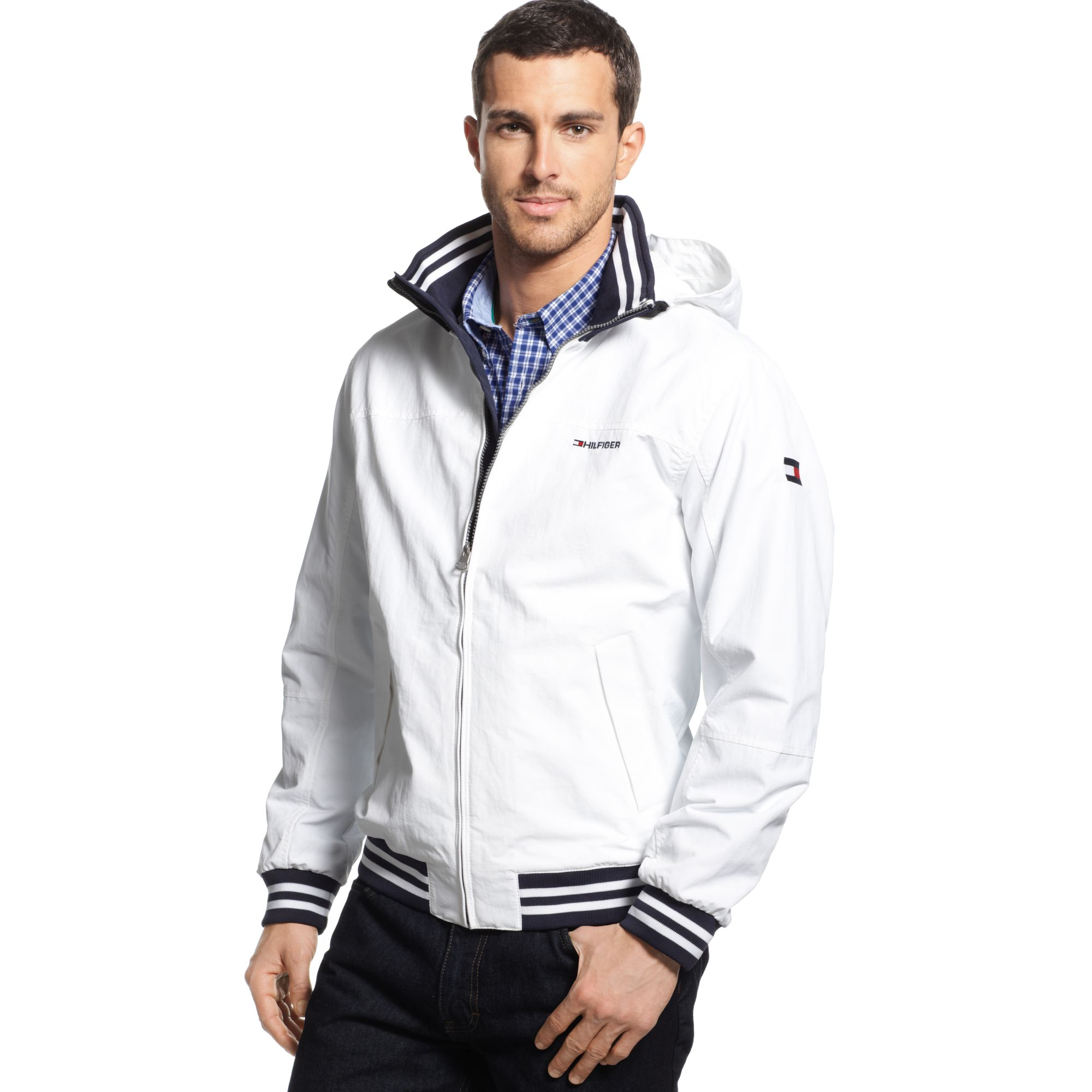 tommy hilfiger team yacht jacket in white for men classic. Black Bedroom Furniture Sets. Home Design Ideas