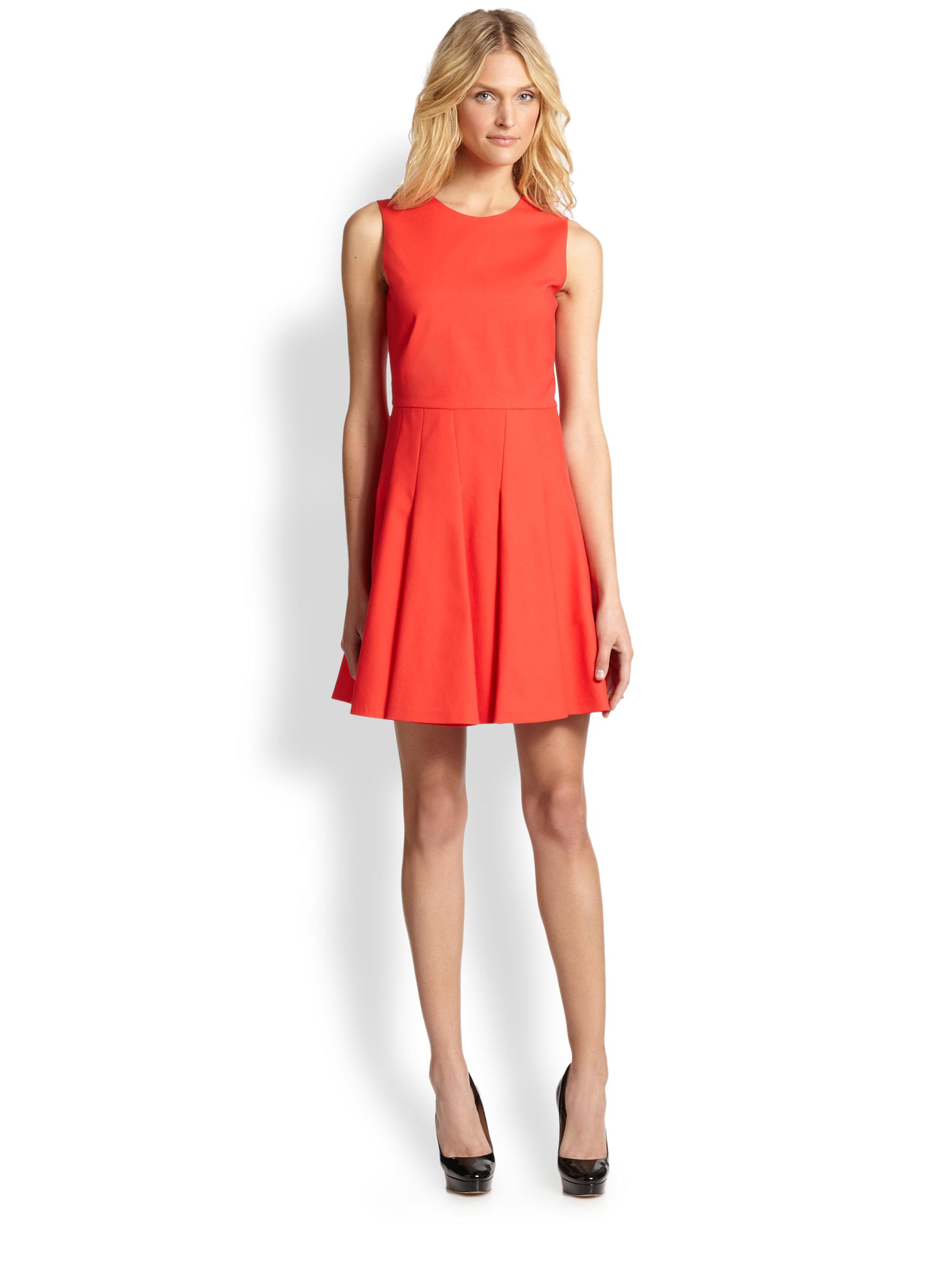 Red Valentino Stretch Cotton Fit Amp Flare Dress In Orange