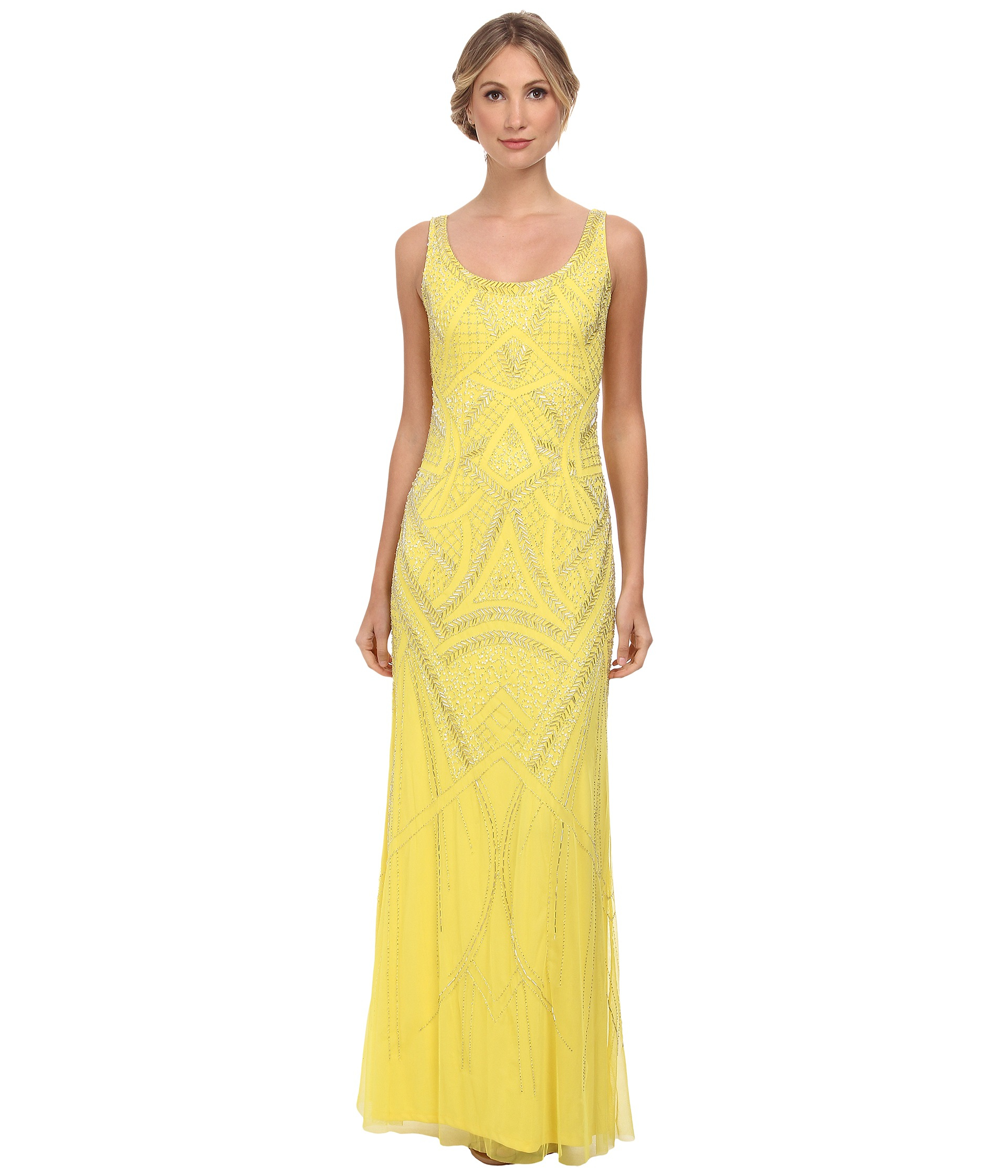 Lyst - Adrianna Papell Sleeveless Fully Beaded Gown in Yellow