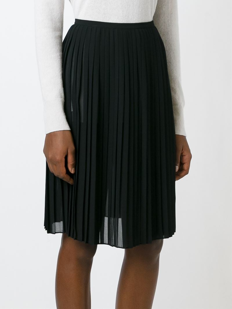 Lyst Dkny Sheer Pleated Skirt In Black
