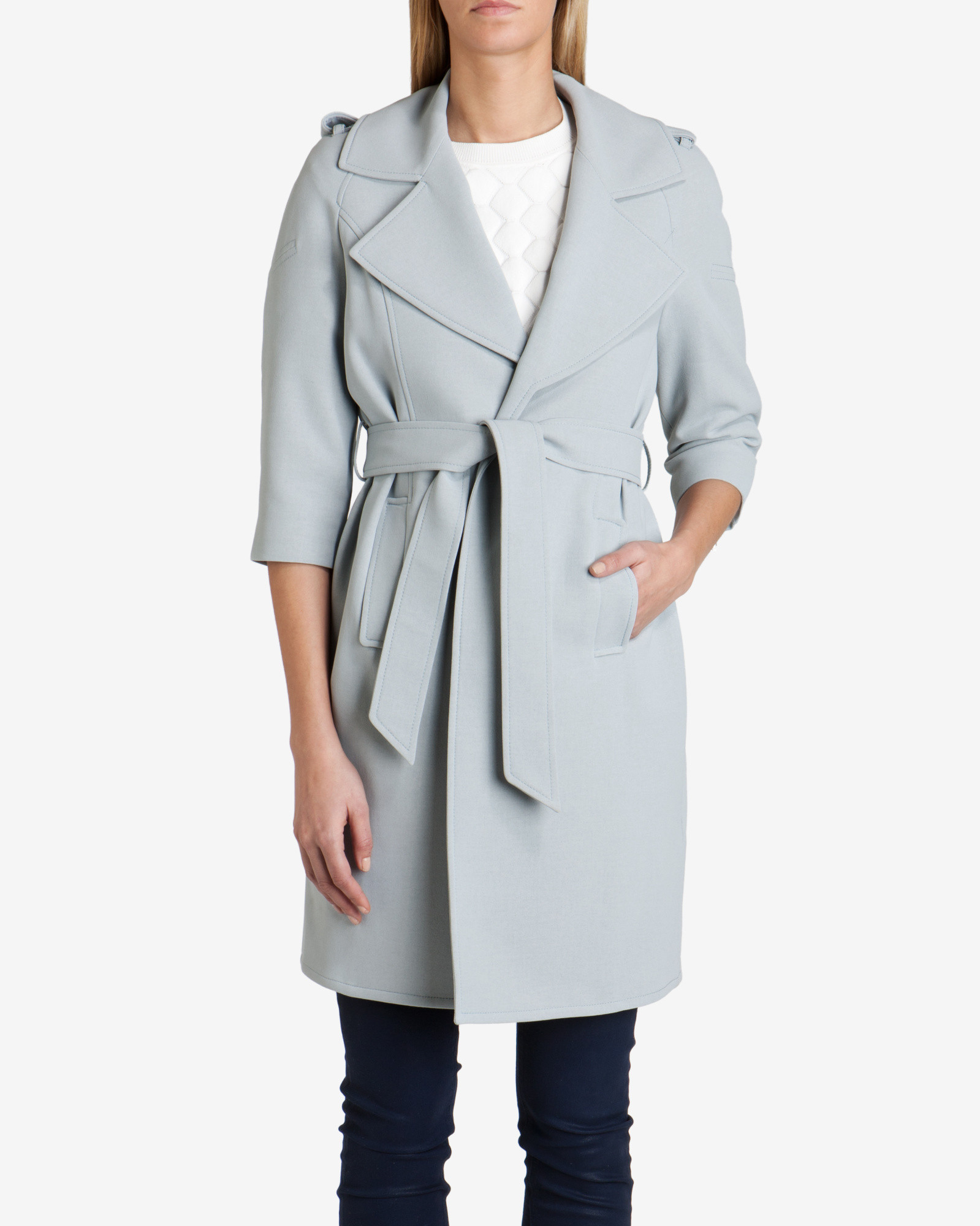 63eb202dea6c2 Ted Baker Deconstructed Trench Coat in Blue - Lyst