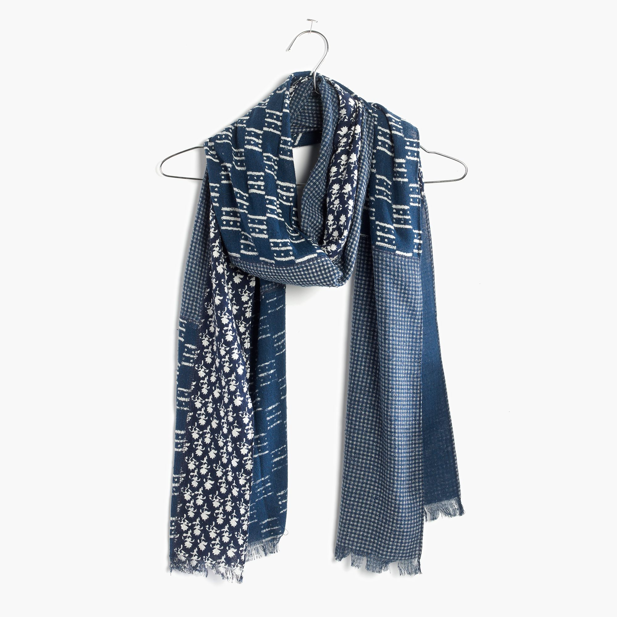 madewell indigo patch scarf in blue lyst