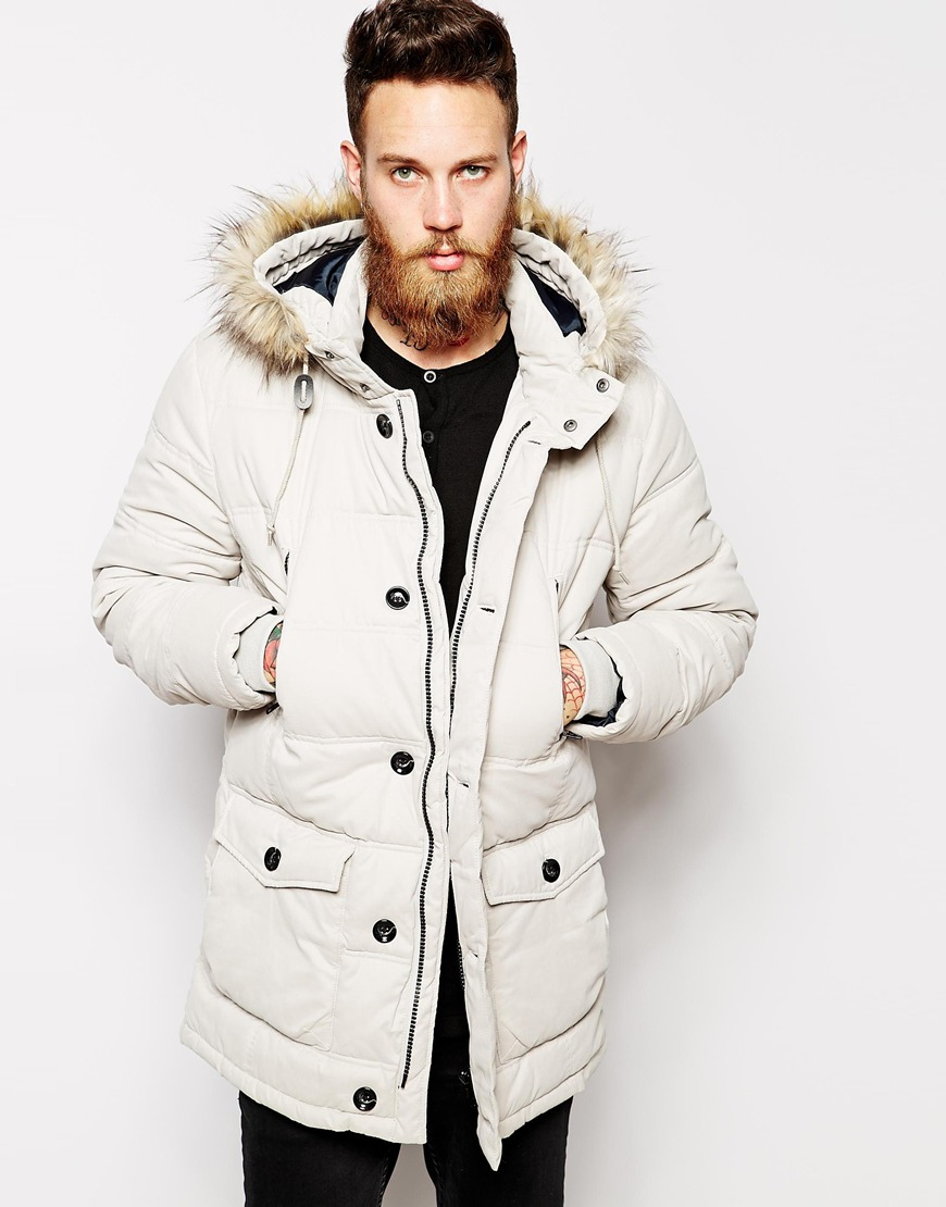 Asos Quilted Parka Jacket in White for Men | Lyst