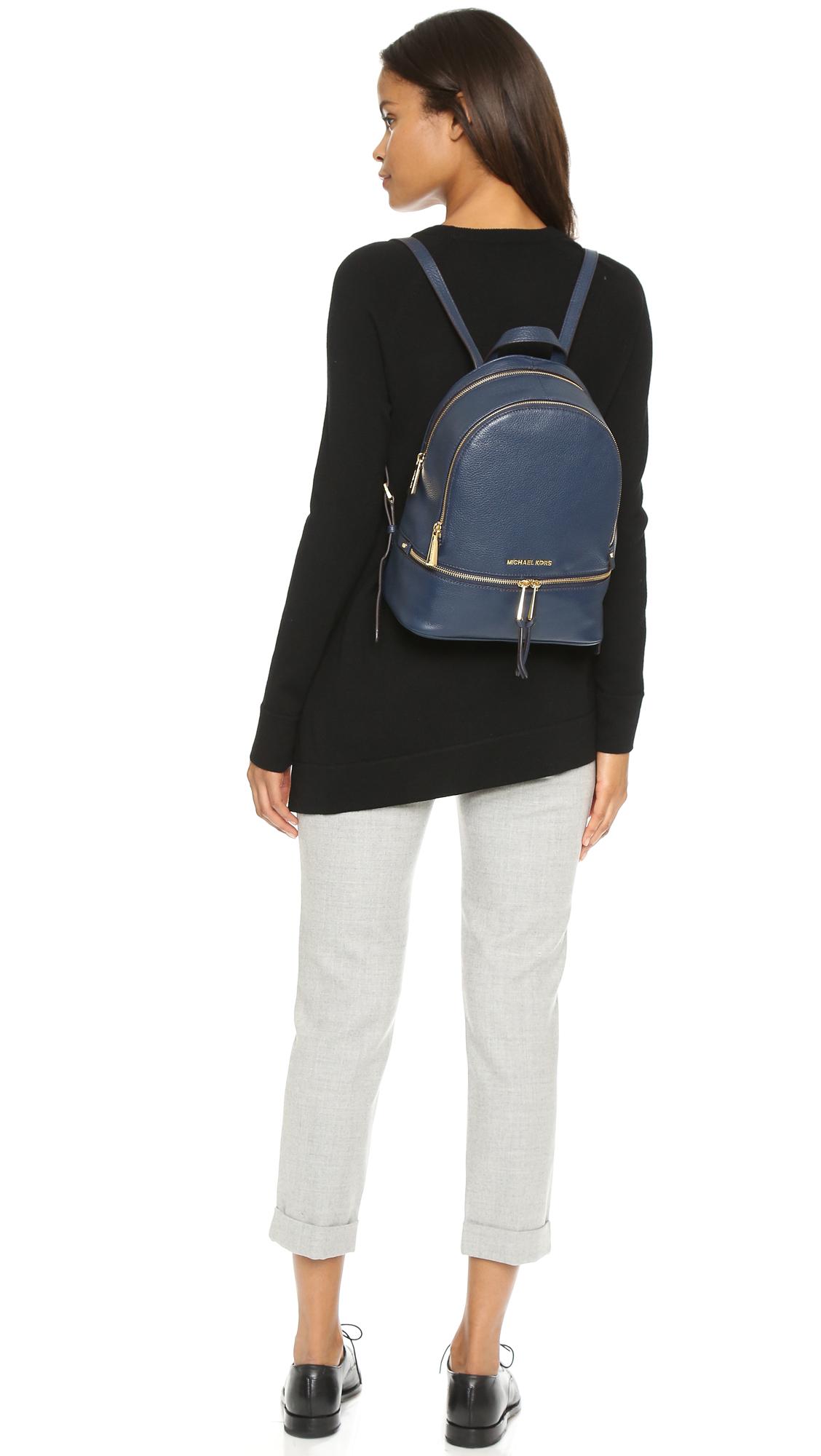 lyst michael michael kors rhea backpack navy in blue. Black Bedroom Furniture Sets. Home Design Ideas