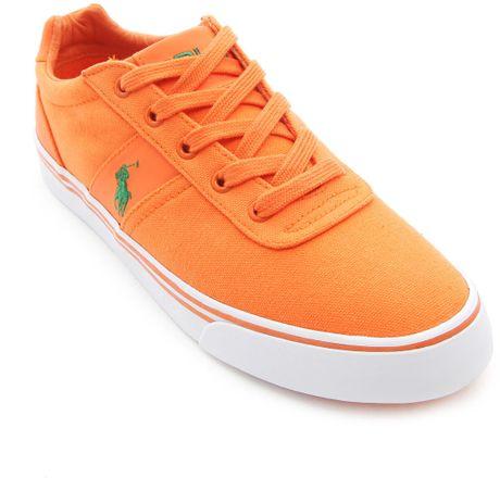 polo ralph hanford orange canvas sneakers in orange