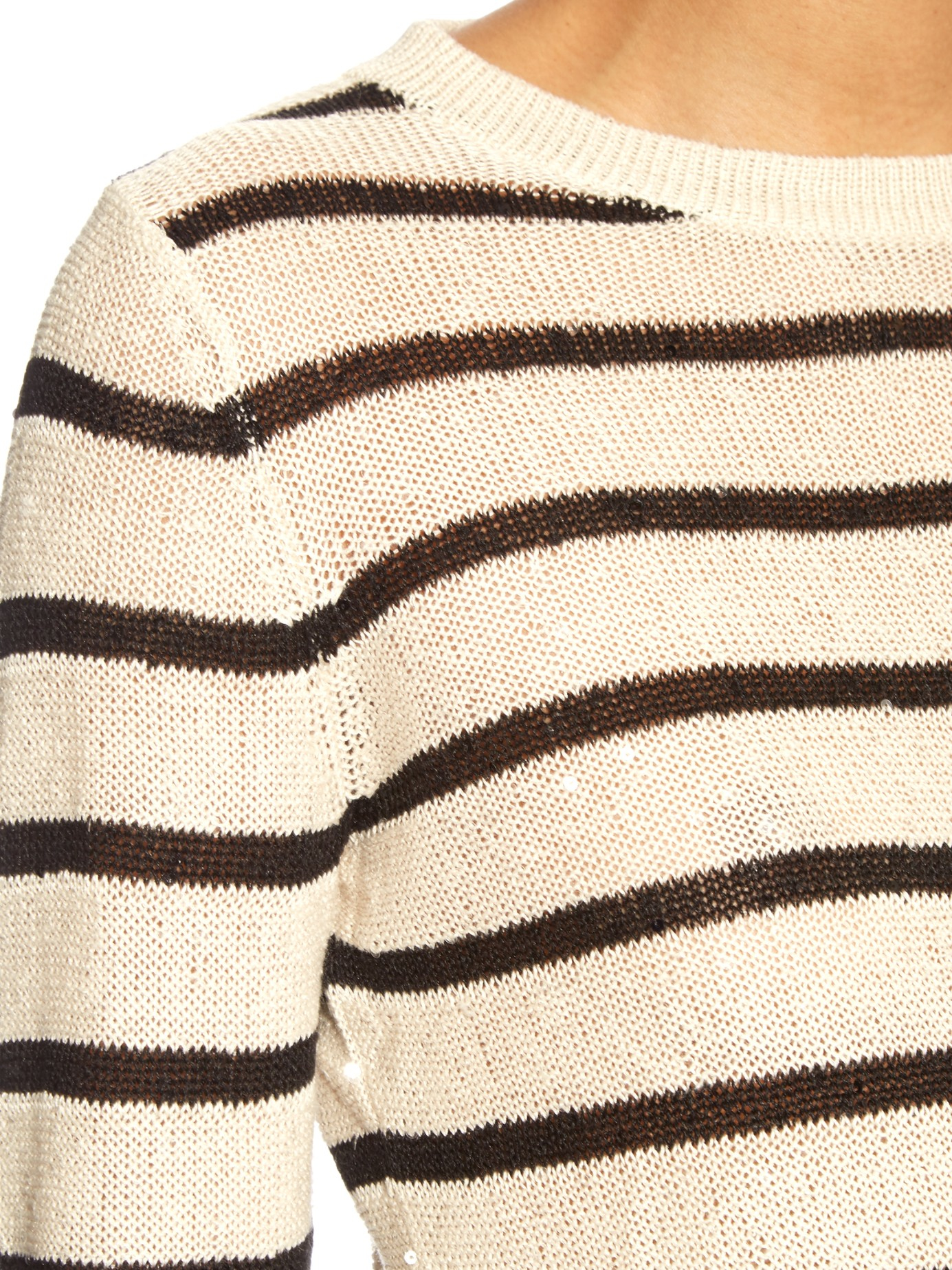 Brunello cucinelli Sequin-embellished Stripe Knit Sweater in Black ...