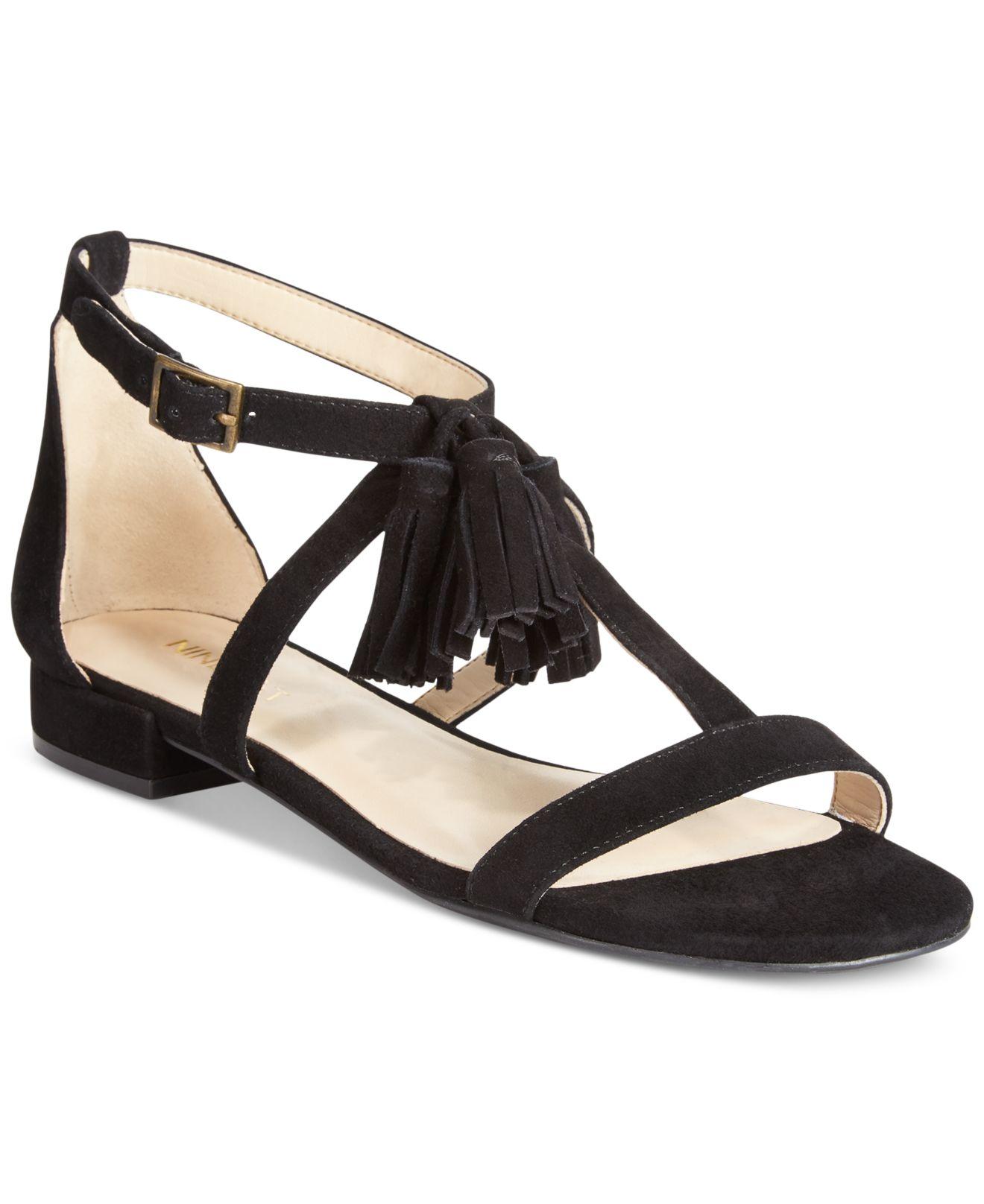 Nine West Weslia Suede Tassel Sandals In Black Lyst