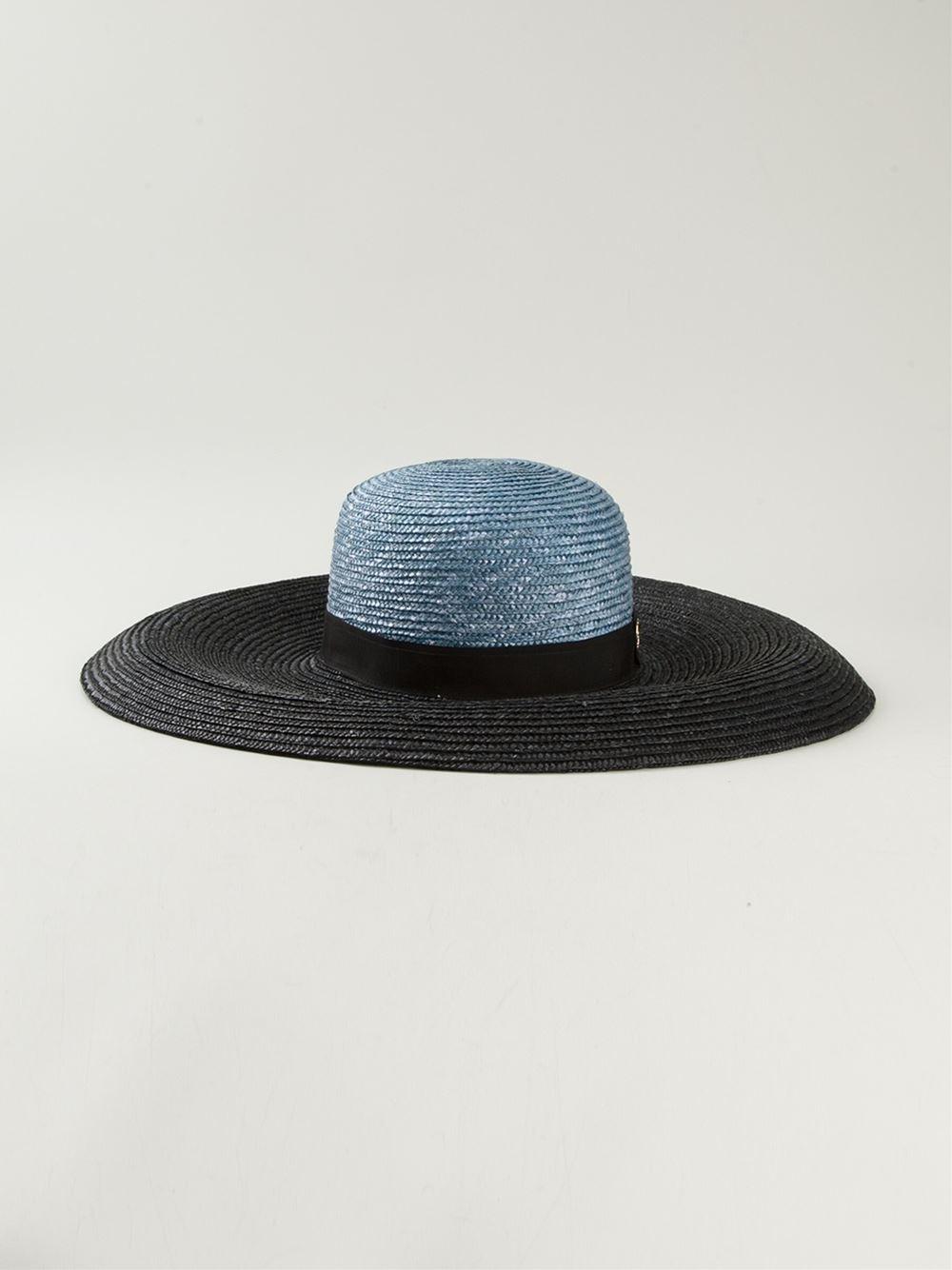 Lyst - Emilio Pucci Two-Tone Wide Brimmed Sky Hat in Blue 58fb981a785f