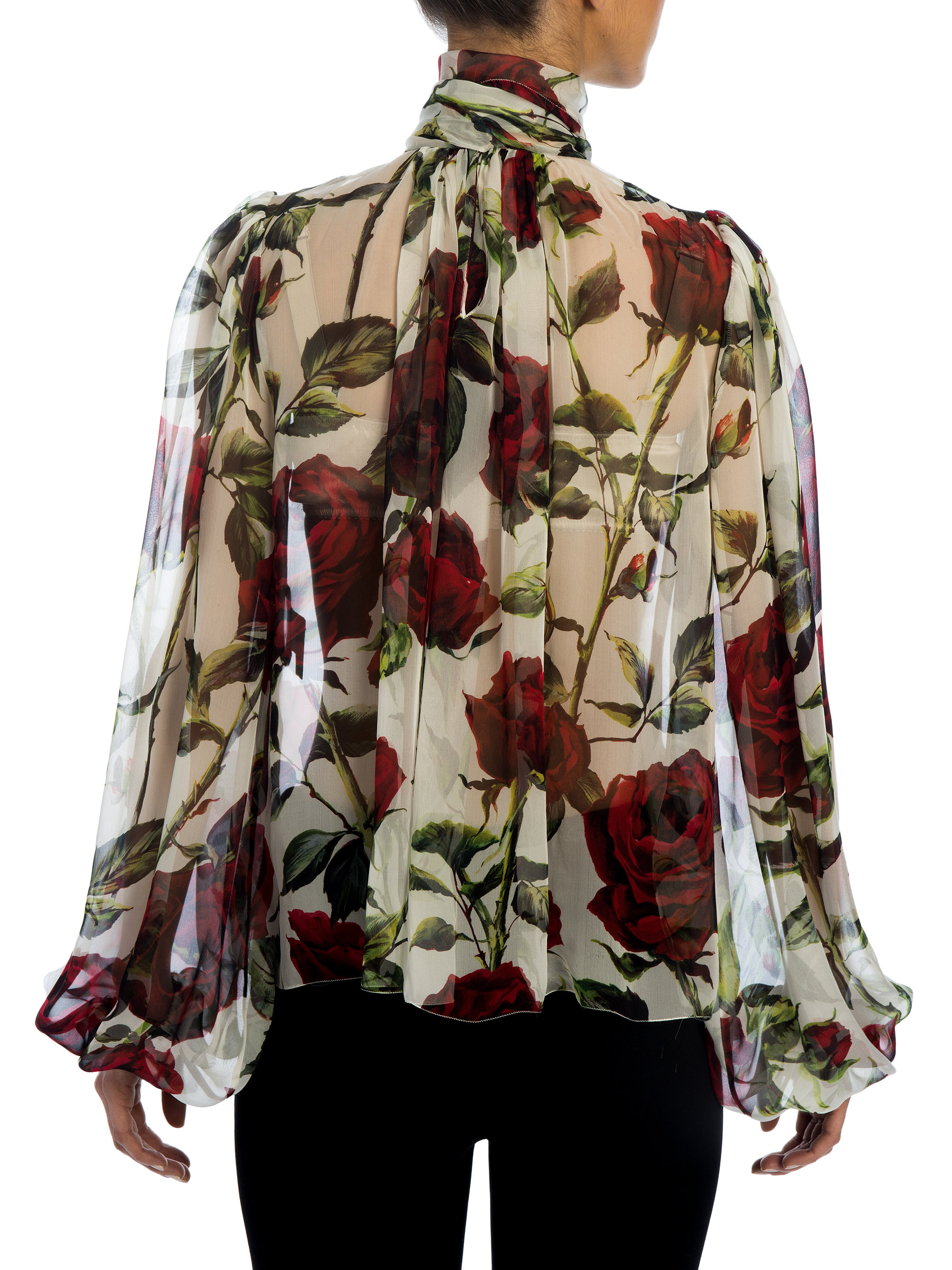 9be37d6e00109a Dolce & Gabbana Rose Silk Chiffon Tie-neck Blouse in Red - Lyst