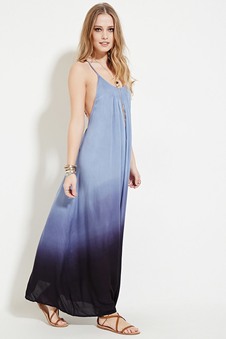 Forever 21 Boho Me Pleat Ombre Maxi Dress in Blue | Lyst