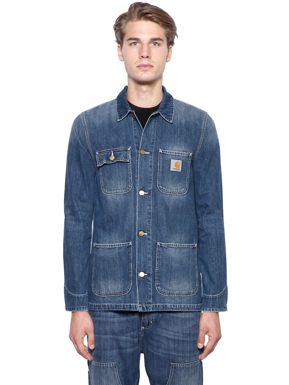 Carhartt Michigan Chore Cotton Denim Jacket In Blue For