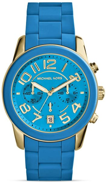 michael kors blue silicone and gold tone mercer