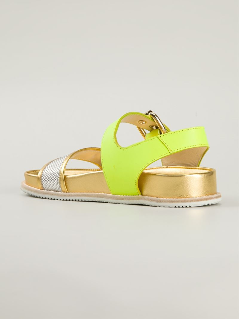 Pollini 'Neon Birk' Sandals in Yellow - Lyst