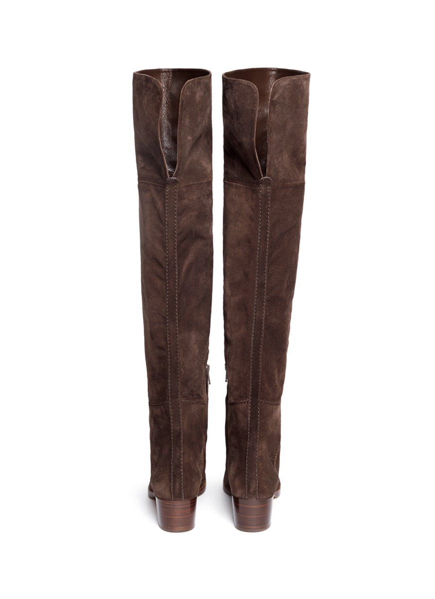 chlo 233 zip suede thigh high boots in brown lyst
