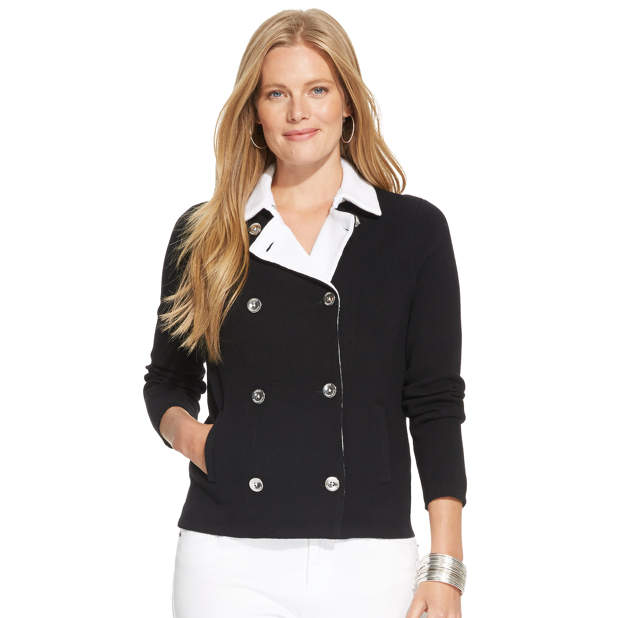 Ralph lauren double breasted sweater jacket sweater for Banded bottom shirts canada