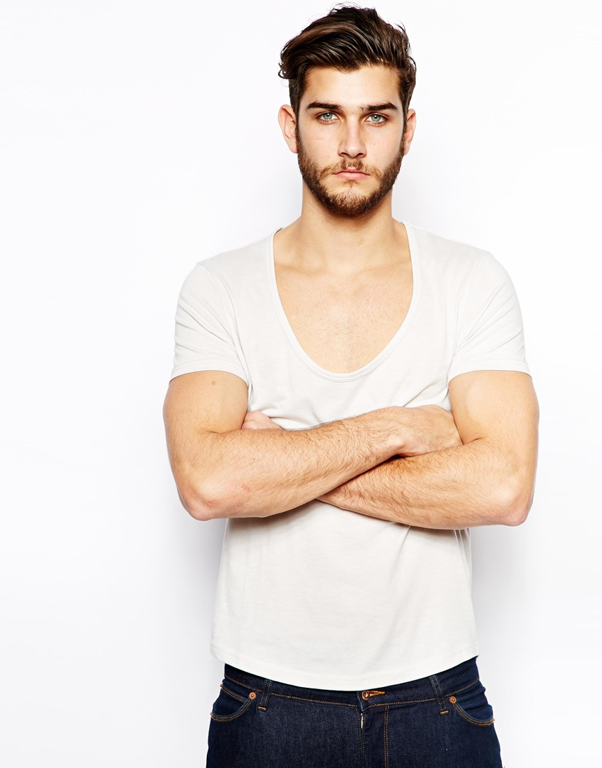 Asos tshirt with deep scoop neck and curved hem in gray for Deep scoop neck t shirt