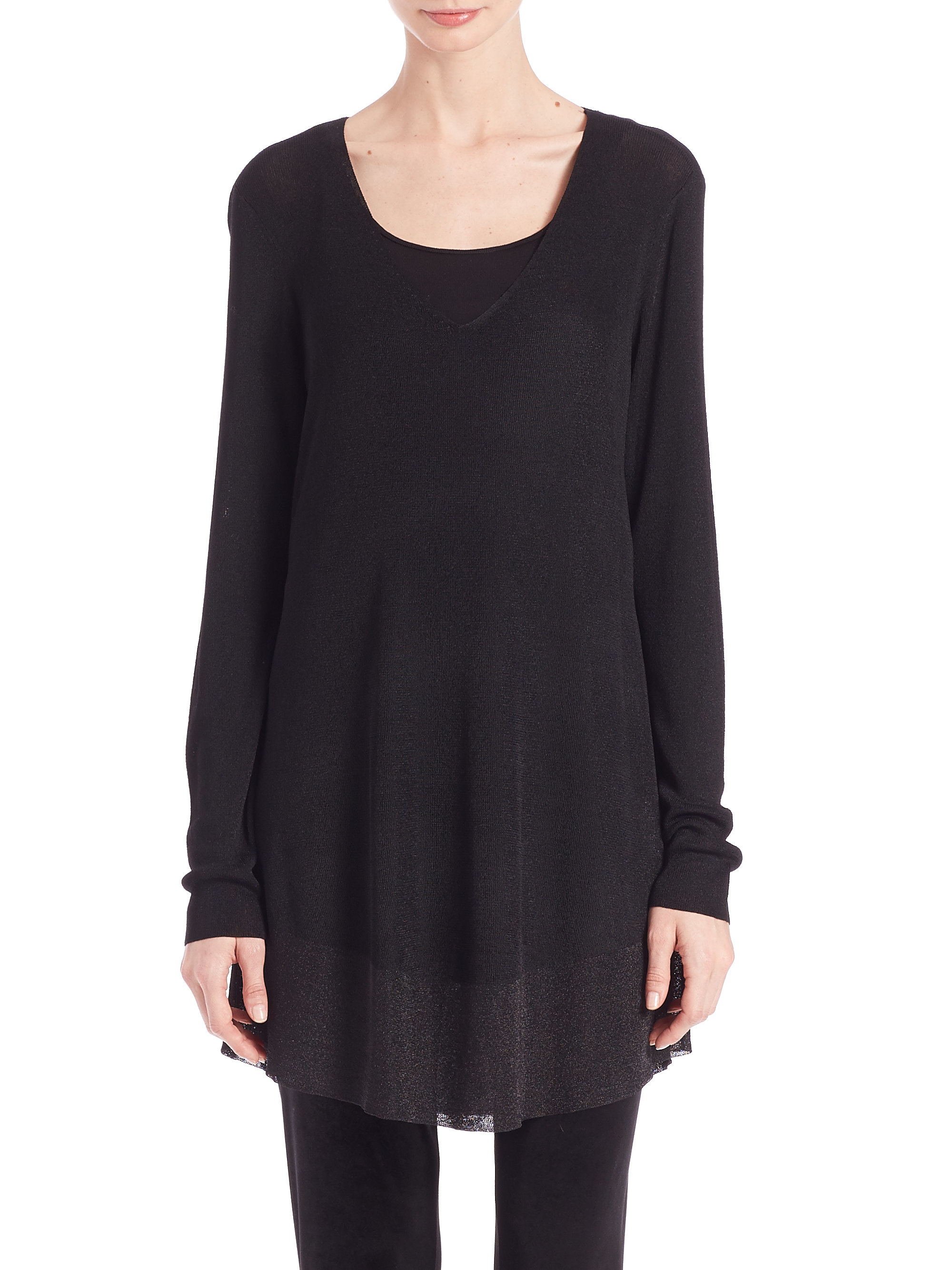 Eileen fisher Shimmer V-neck Tunic in Black | Lyst