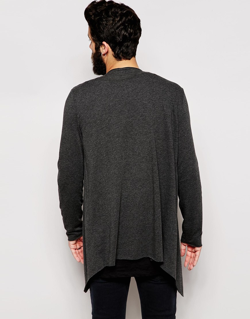 Asos Longline Cardigan With Extreme Waterfall In Jersey in Gray ...