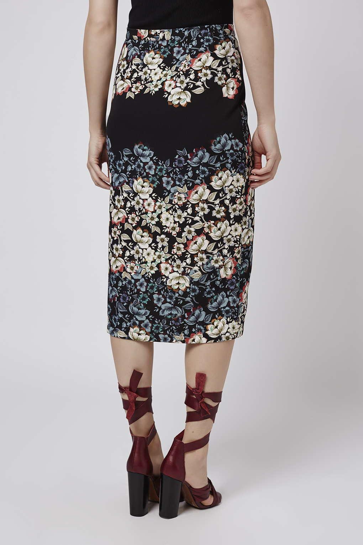 topshop flower border wrap midi skirt in blue lyst