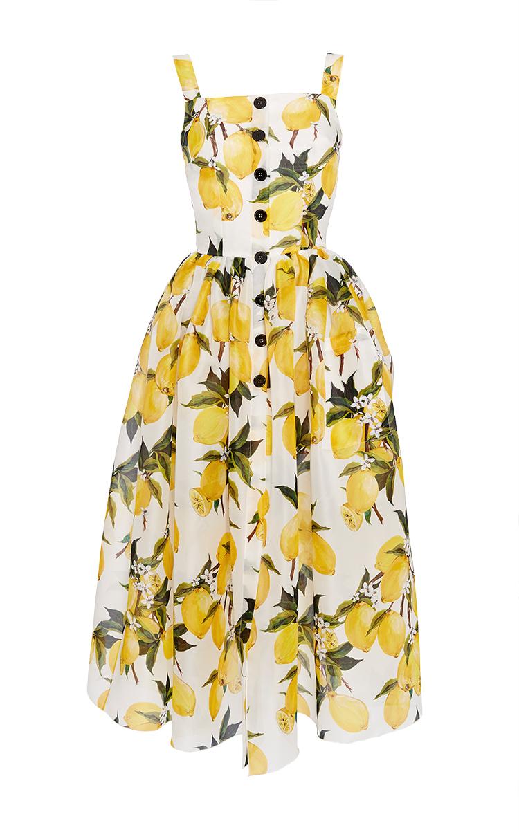 Dolce & gabbana Cotton Lemon Print And Needlepoint Dress ...