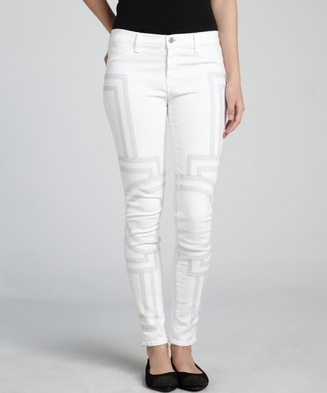 j brand white stretch denim embroidered skinny jeans in. Black Bedroom Furniture Sets. Home Design Ideas