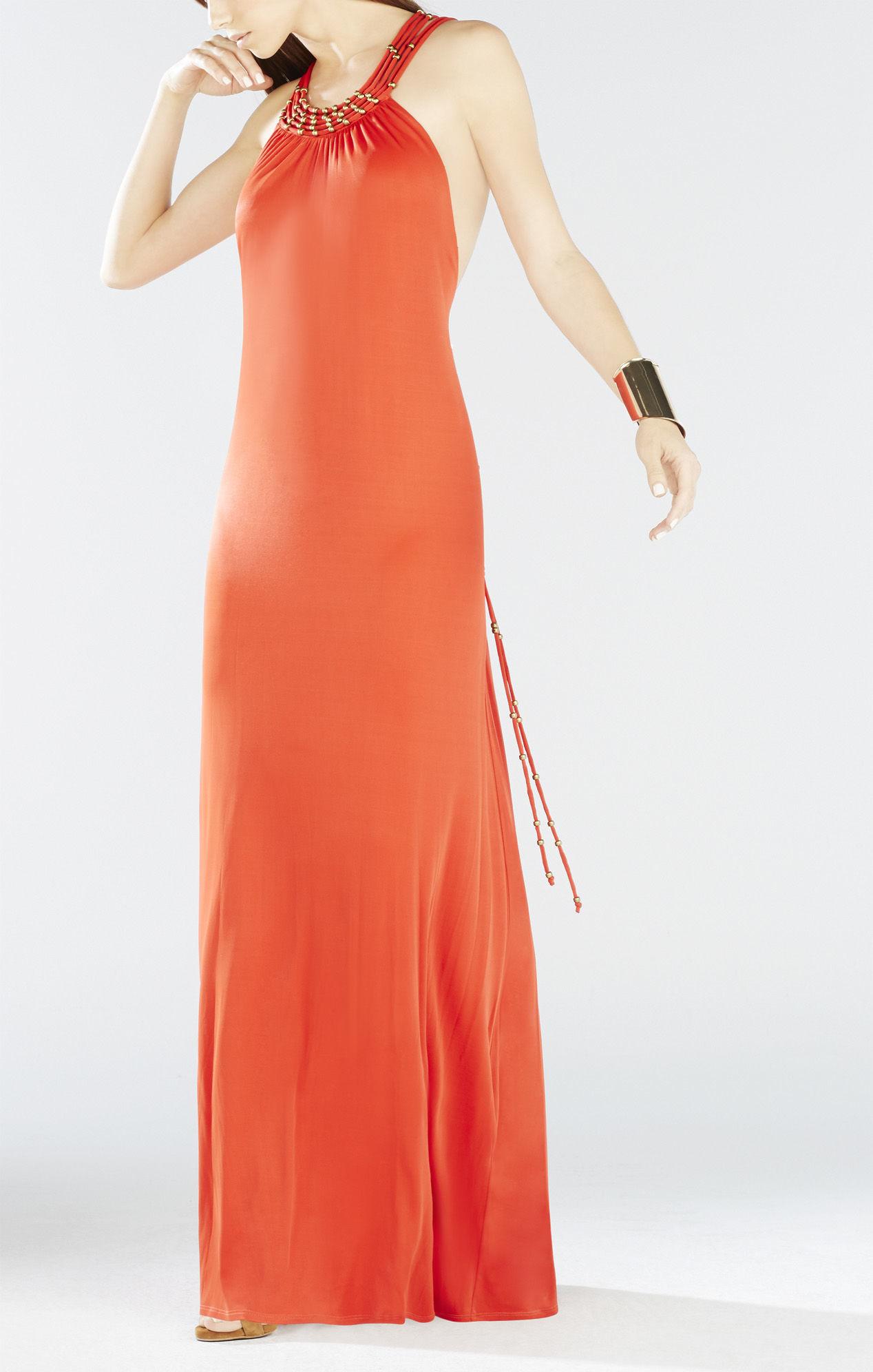 bcbgmaxazria aviana crisscross back beaded maxi dress in