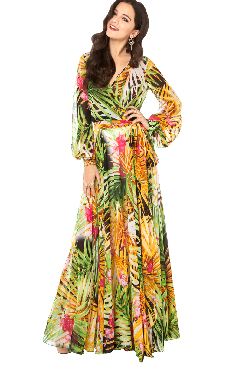yellow dress flowy akira black label tropical print flowy maxi dress in 5920