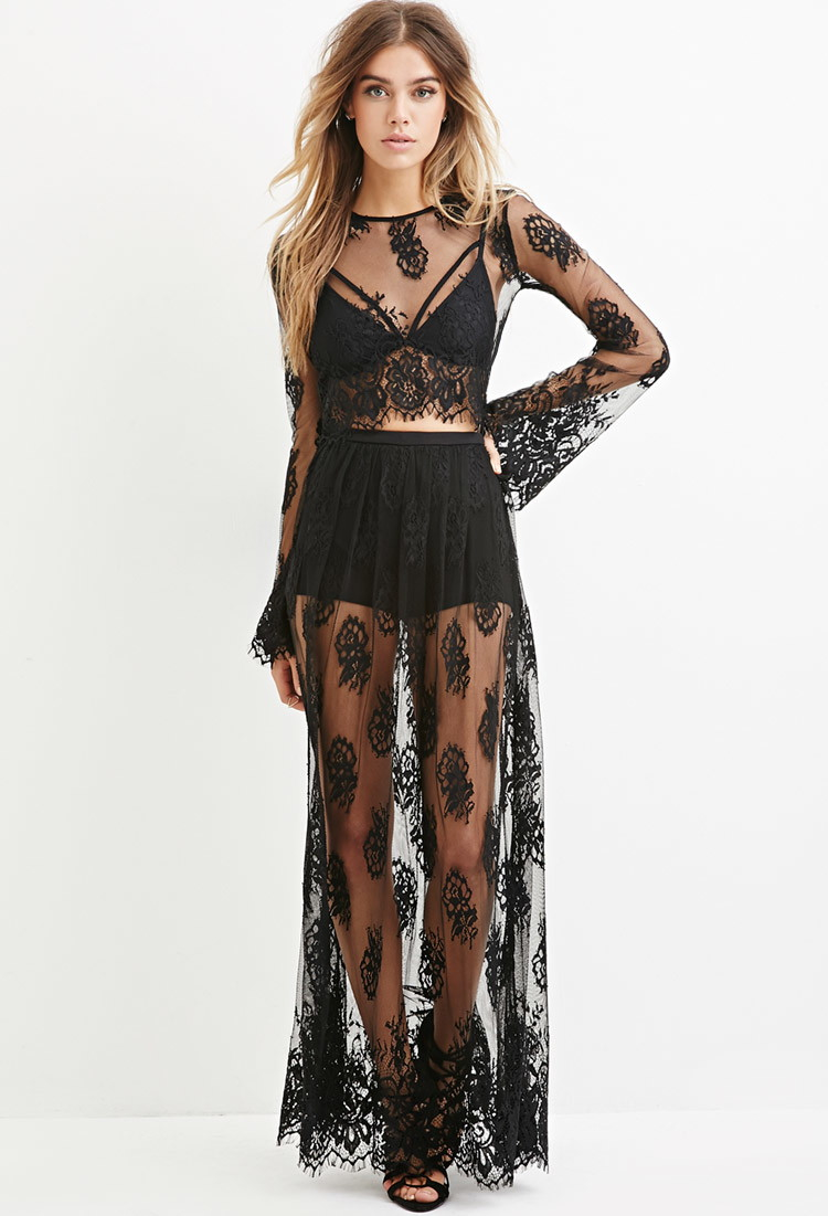 Lyst Forever 21 Eyelash Lace Maxi Skirt In Black